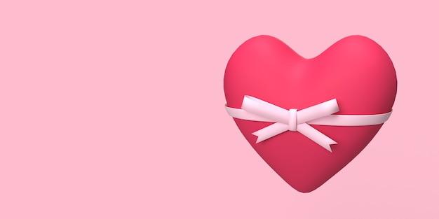 3d cuore rosso con nastro rosa per il romanticismo o il concetto di matrimonio sfondo reso