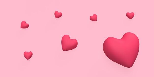 3d amore rosso con sfondo rosa reso per il concetto romantico o matrimonio