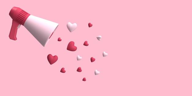 3d megafono rosso con amore diffuso in aria con sfondo di colore rosa reso