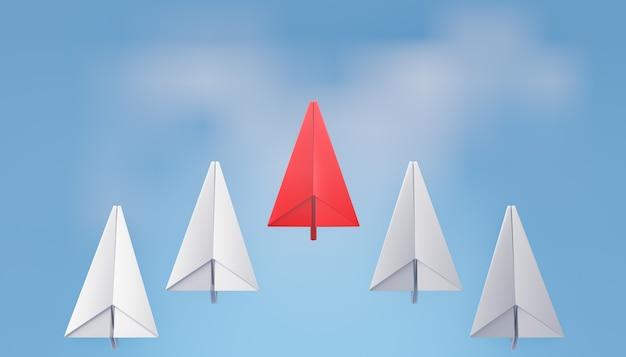 Parte posteriore dell'aereo di carta rosso 3d con la riga dell'aereo di carta bianca sullo sfondo del cielo blu. rendering dell'illustrazione 3d.