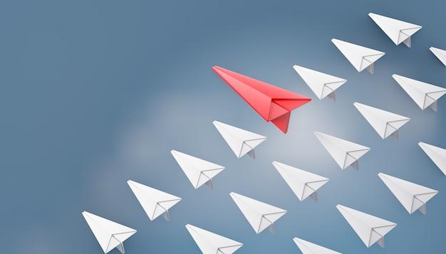 Aereo di carta rosso 3d con fila di aereo di carta bianca su sfondo blu cielo. rendering dell'illustrazione 3d.
