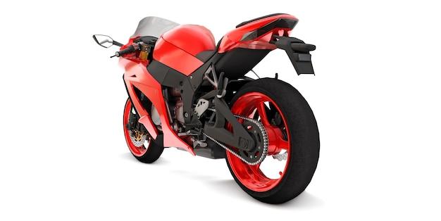 Moto super sportiva rossa 3d su superficie isolata bianca