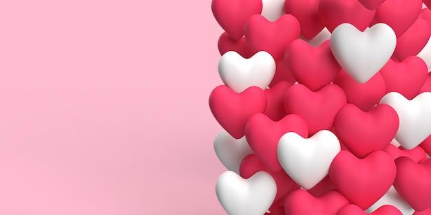 Cuore rosso e bianco 3d dell'amore che galleggia in aria con sfondo rosa reso