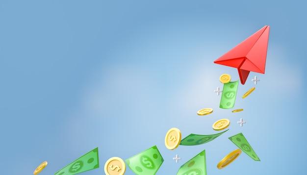 Aereo di carta bianco rosso 3d con monete di banconote denaro dollaro su sfondo blu cielo. rendering dell'illustrazione 3d.