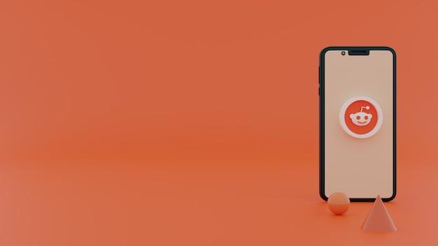Logo 3d reddit sullo schermo dello smartphone