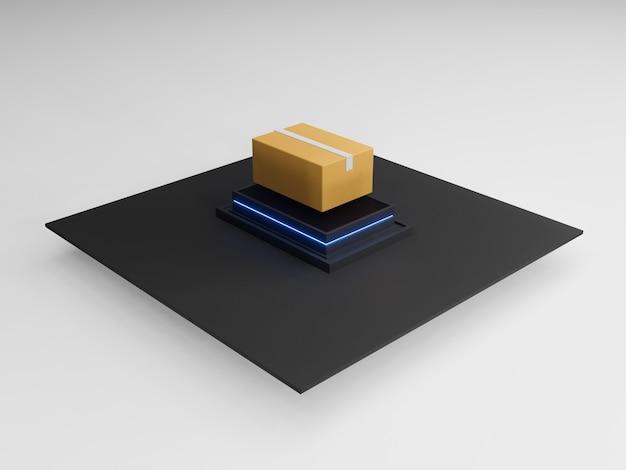 Redner 3d di smistamento automatico e consegna dei pacchi nei darkstores. moderna industria marittima. ai