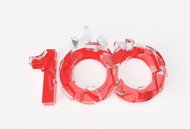 3d render 100 progettazione dell'illustrazione del numero rotto.