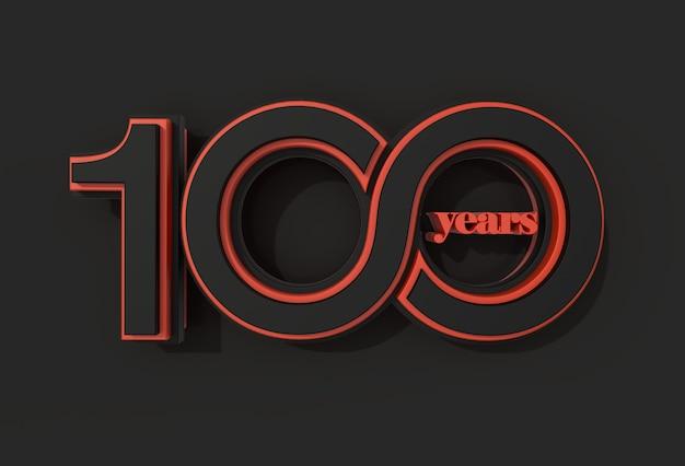 Render 3d celebrazione dei 100 anni - tracciato di ritaglio creato dallo strumento penna incluso in jpeg facile da comporre.