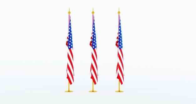 Rendering 3d di 3 bandiera americana per il memorial day, 4 luglio, giorno dell'indipendenza.