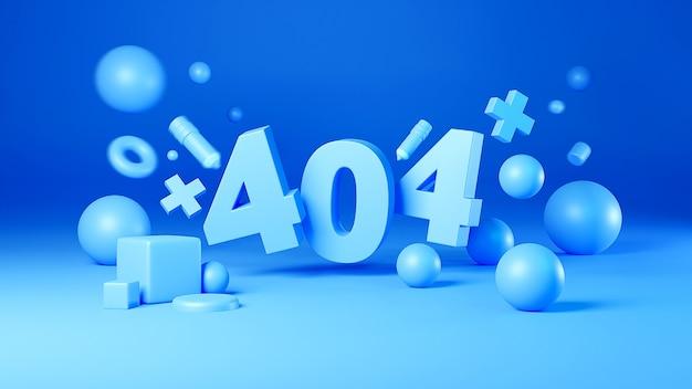 Rendering 3d della pagina di errore 404 non trovata design, sfondo color pastello
