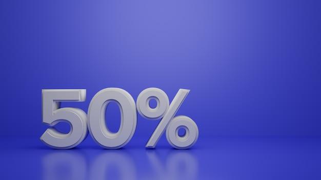 Rendering 3d di sconto di vendita del 50% su viola