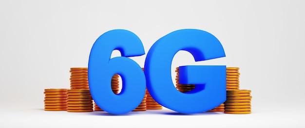 Rendering 3d di 6g e moneta d'oro. acquisti online ed e-commerce sul concetto di business web. transazione di pagamento online sicura con smartphone.