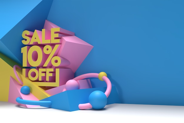 3d render abstract 10% vendita sconto sconto banner 3d illustration design.