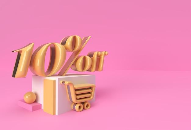 3d render abstract sconto del 10% sui prodotti di visualizzazione della pubblicità. progettazione dell'illustrazione del manifesto del volantino.