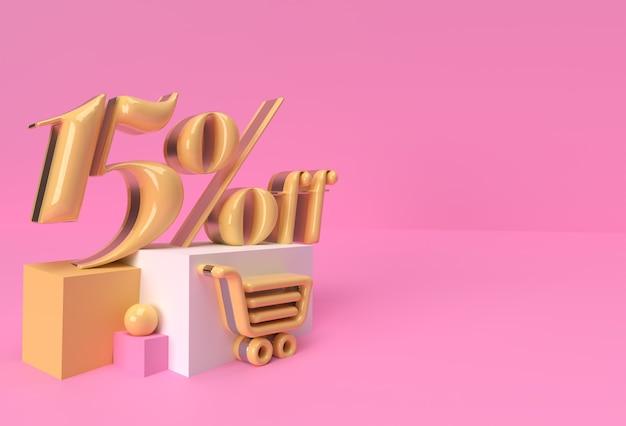 3d render abstract 15% di sconto sulla vendita di prodotti display pubblicitari. progettazione dell'illustrazione del manifesto del volantino.