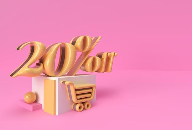 3d render abstract sconto del 20% sui prodotti di visualizzazione della pubblicità. progettazione dell'illustrazione del manifesto del volantino.