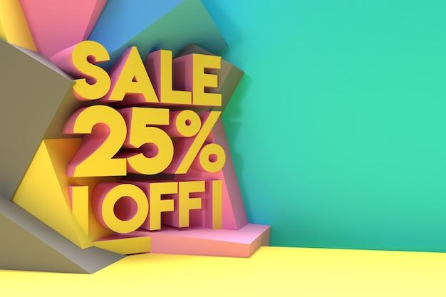 3d render abstract 25% vendita sconto sconto banner 3d illustration design.