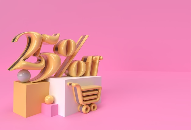 3d render abstract 25% vendita di sconto display prodotti pubblicità. progettazione dell'illustrazione del manifesto del volantino.