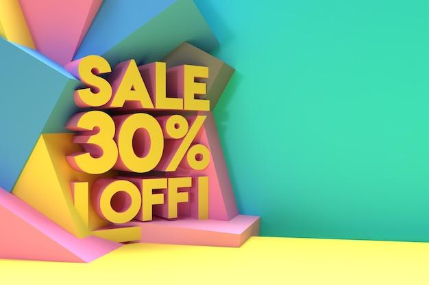 3d render abstract 30% vendita sconto sconto banner 3d illustration design.
