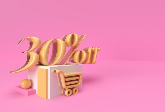 3d render abstract 30% vendita di sconto display prodotti pubblicità. progettazione dell'illustrazione del manifesto del volantino.