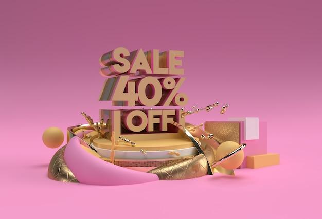 3d render abstract sconto del 40% sui prodotti di visualizzazione della pubblicità. progettazione dell'illustrazione del manifesto del volantino.