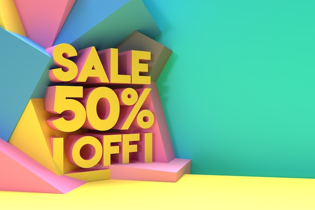 3d render abstract 50% vendita sconto sconto banner 3d illustration design.