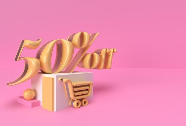 3d render abstract sconto del 50% sui prodotti di visualizzazione della pubblicità. progettazione dell'illustrazione del manifesto del volantino.