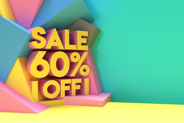 3d render abstract 60% vendita sconto sconto banner 3d illustration design.