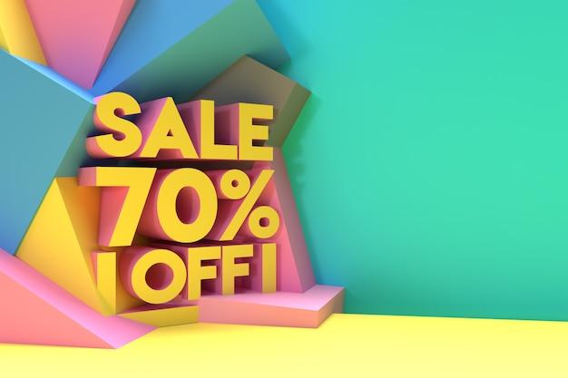 3d render abstract 70% vendita sconto sconto banner 3d illustration design.
