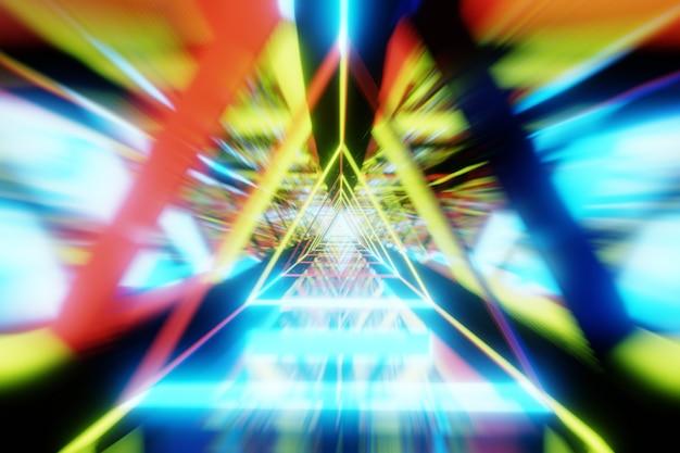 3d render abstract accelerazione movimento velocità attraverso il tunnel di luce colorata
