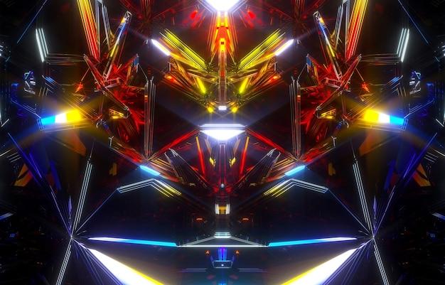 Rendering 3d di arte astratta sfondo 3d con parte del meccanismo frattale segreto alieno surreale