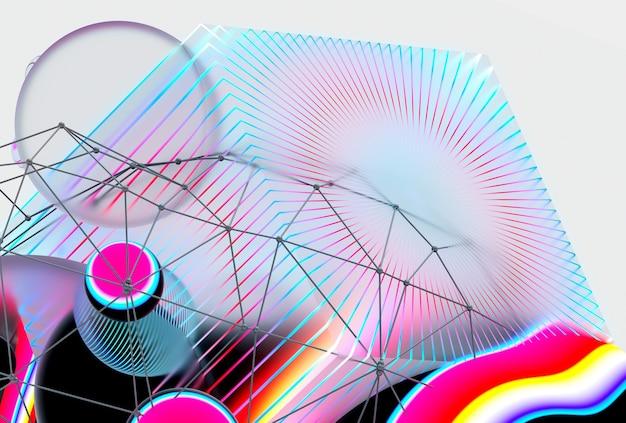 Rendering 3d di arte astratta sfondo 3d con surreale battenti meta sfere sfere bolle e grande cubo con strisce al neon