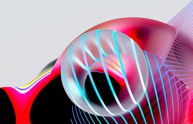 Rendering 3d di arte astratta della composizione con bolle di sfere di gomma volanti surreali
