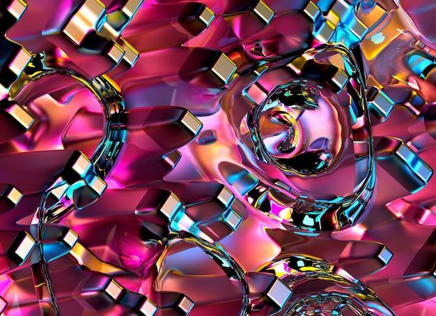 Rendering 3d di arte astratta industriale 3d texture di sfondo con parte di superficie liquida surreale in metallo argento e vetro in forma rotonda con motivo a griglia cubica in colore sfumato blu arancione e viola