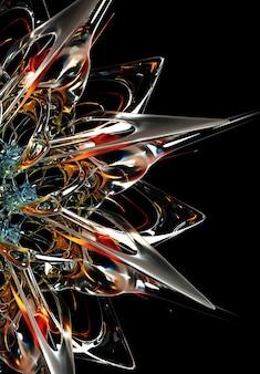 Rendering 3d di arte astratta parte del fiore stella alieno surreale in forme di linee organiche ondulate rotonde