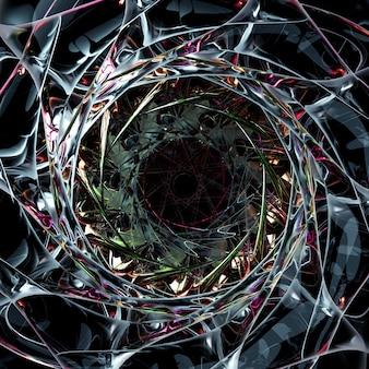 Rendering 3d di arte astratta di parte del sole stellare alieno surreale o fiore fiocco di neve o simbolo mandala