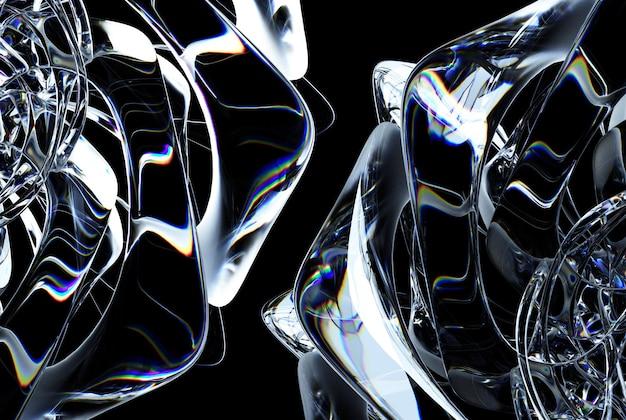 Rendering 3d dell'arte astratta di una parte del simbolo del mandala della ruota o del fiore di rosa congelato in vetro di ghiaccio surreale