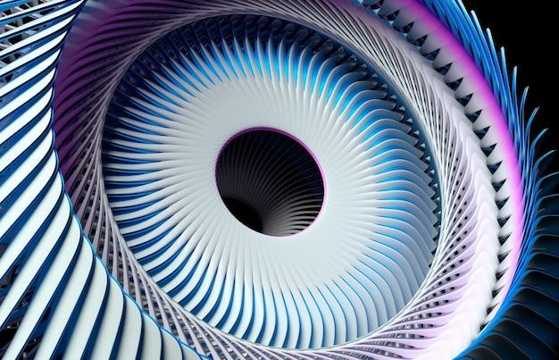 Rendering 3d di arte astratta parte del motore a turbina surreale con lame frattali del rotore a vortice affilato