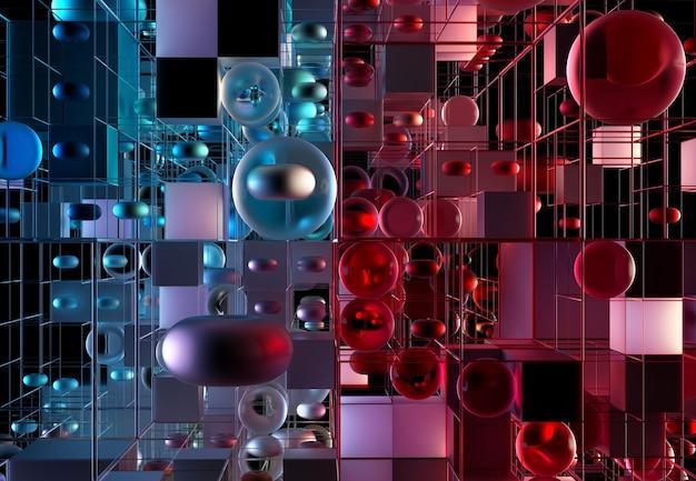 Rendering 3d della costruzione di giochi di puzzle di arte astratta in vista isometrica basata su figure di geometria come cubi e sfere