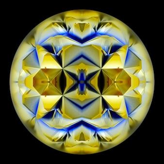 Rendering 3d di arte astratta di sfera o sfera di vetro surreale con oggetto di geometria frattale all'interno
