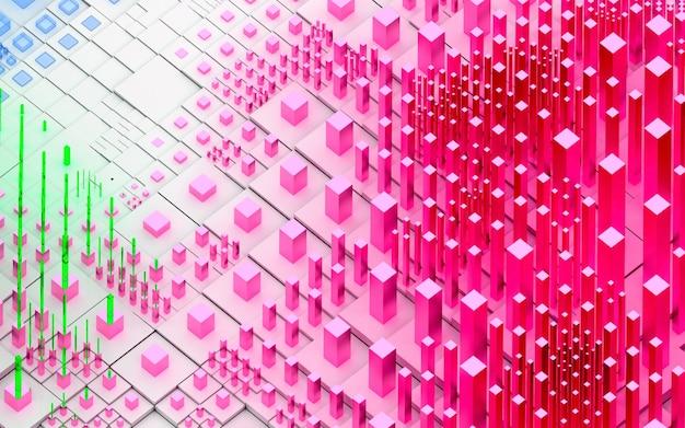 Rendering 3d di arte astratta topografica sfondo del paesaggio 3d con colline o montagne surreali basate su scatole di cubi o barre o pilastri in plastica lucida bianca e rosa e materiali in vetro verde blu