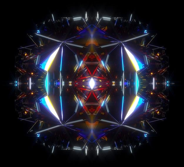 Rendering 3d di arte astratta con scatola segreta aliena surreale o meccanismo cubico frattale con punte