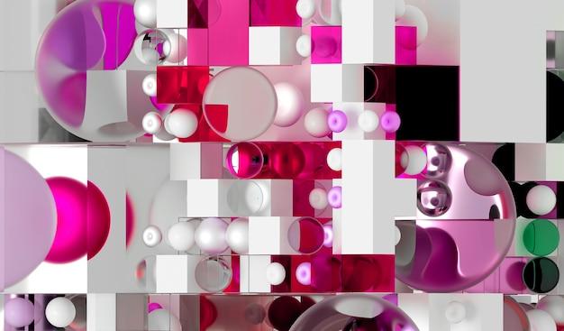 Rendering 3d di arte di sfondo astratta basata su figure geometriche piccole e grandi