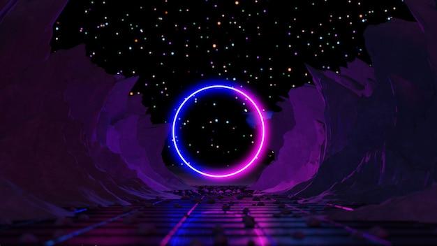 Rendering 3d, sfondo astratto, paesaggio cosmico, portale rettangolare, luce al neon blu rosa.
