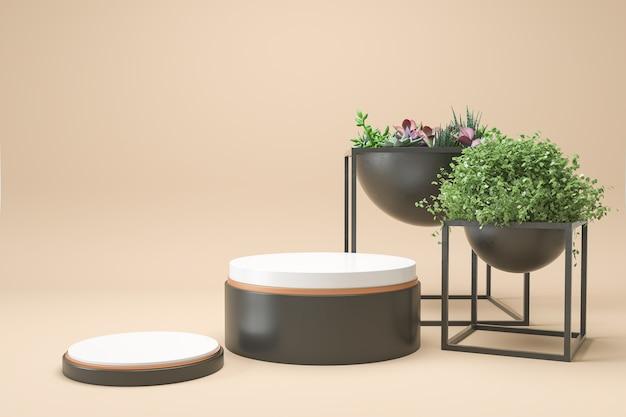 3d rendono la scena astratta del fondo per il prodotto cosmetico con i podi e le piante su fondo beige