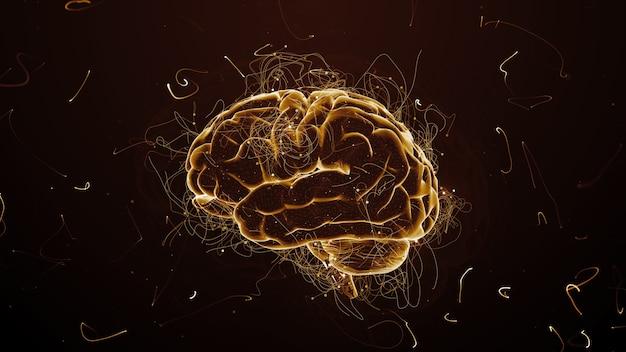 3d rendono lo sfondo astratto con il cervello circondato da particelle con percorsi contorti. scie e particelle simboleggiano le idee.