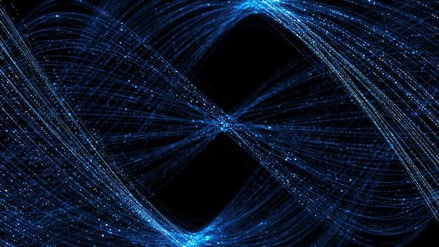 3d rendono il fondo astratto con le particelle contorte complesse. strutture e linee dettagliate di particelle con elementi luminosi. perfetto per sfondo aziendale o tecnologico.