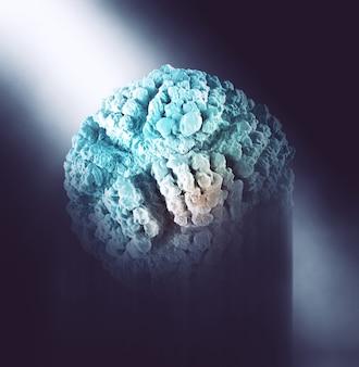 Rendering 3d di uno sfondo astratto con cellula virale