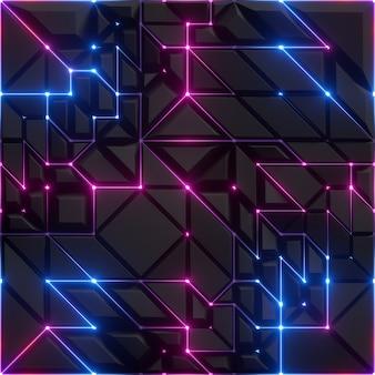 Rendering 3d di sfondo sfaccettato nero astratto con linee al neon incandescente blu rosa