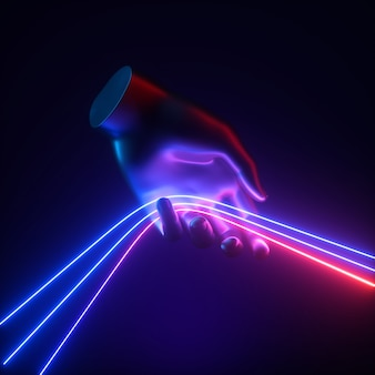 Rendering 3d, concetto astratto blu rosso luce al neon, mano artificiale tiene linee luminose.